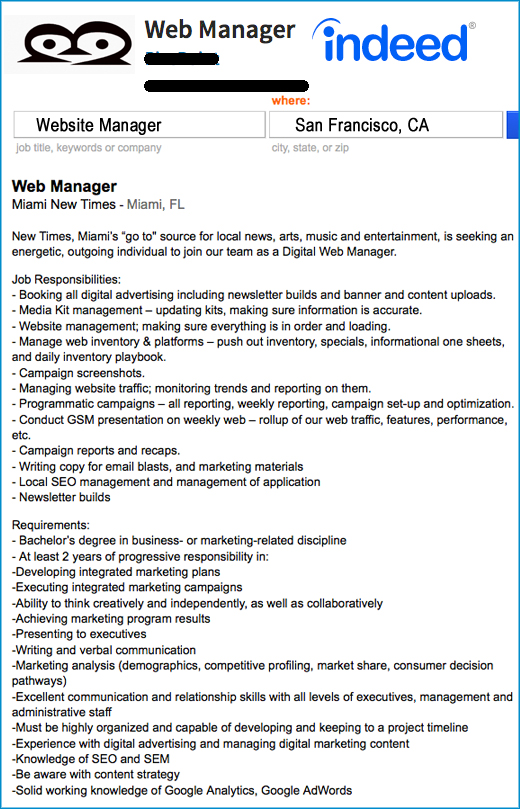 The New Silicon Valley Website Manager Job Description
