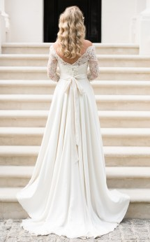 Bohemian Lace Wedding Dress with Sleeves