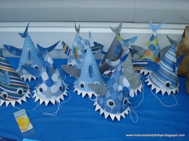 Cute Shark themed party hats