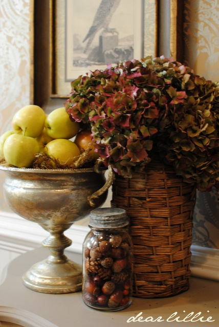 Nuts in mason jars for fall decor