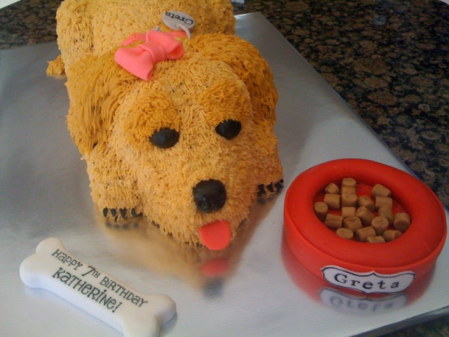 Shaggy brown dog birthday cake!