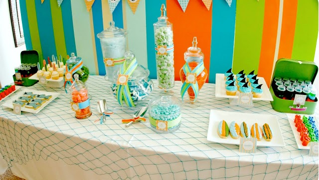 Shark Pool Party Ideas kid pleasing healthy party food watermelon pops slice watermelon into triangles cut a Shark Themed Pool Party Dessert Table