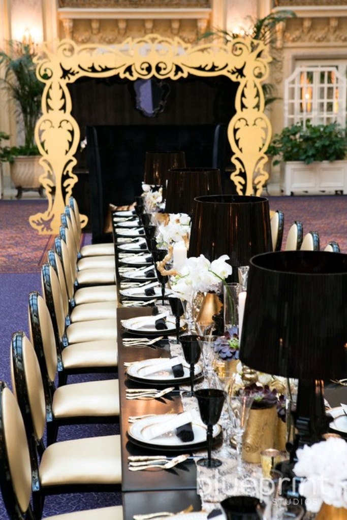 Gold And Black Wedding Tablescape