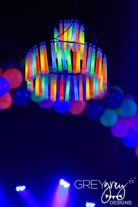 Glow In The Dark Chandelier For Neon Sweet 16 party. See More Glow In The Dark Party Ideas On B. Lovely Events
