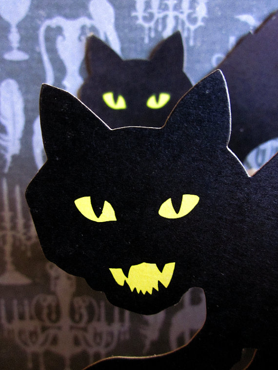 how amazing are these black cat decorations we spotted on antique love on etsy they bring such a scary yet fun vibe and would go perfect in any space - Halloween Cat Decorations