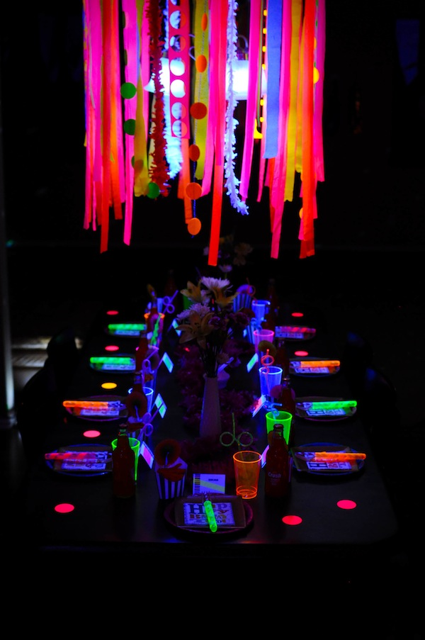 Neon Glow in the Dark Party Table. See More Glow In The Dark Party Ideas On B. Lovely Events