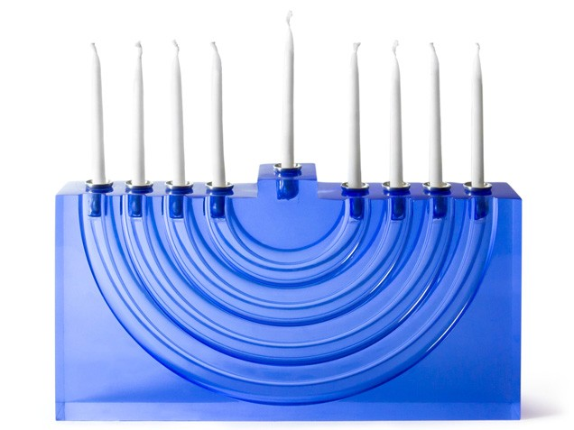 All clear blue menorah for Hanukkah
