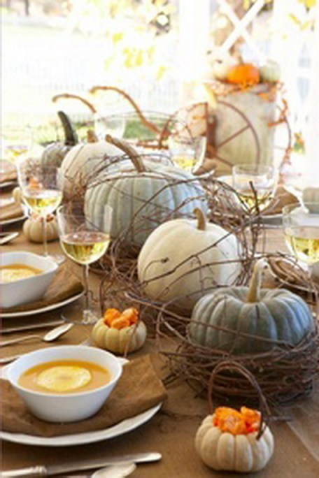 Rustic chic Thanksgiving pumpkin centerpieces
