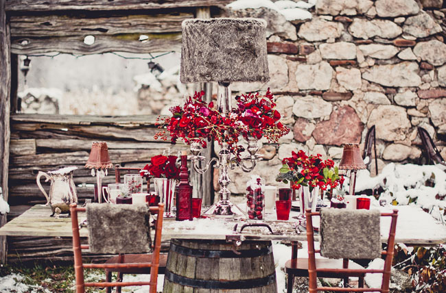 Gorgeous Red Christmas Winter Tablescape