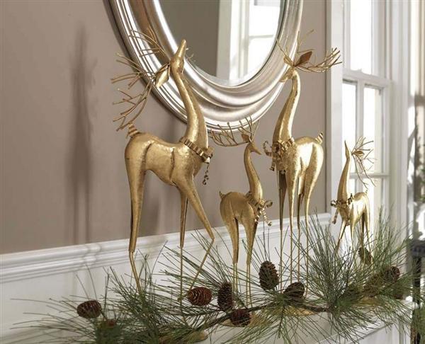 Elegant gold raindeer Mantel decorations