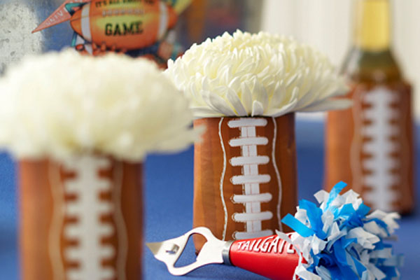 Love these easy football centerpieces