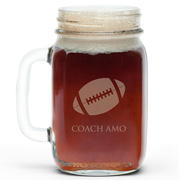 Personalize football mason jars for super bowl!