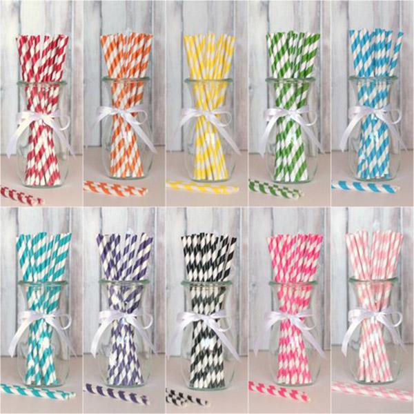 Striped Party Straws