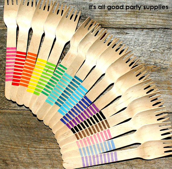 Striped party forks