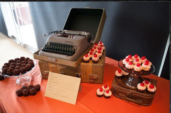 Travel themed wedding dessert bar