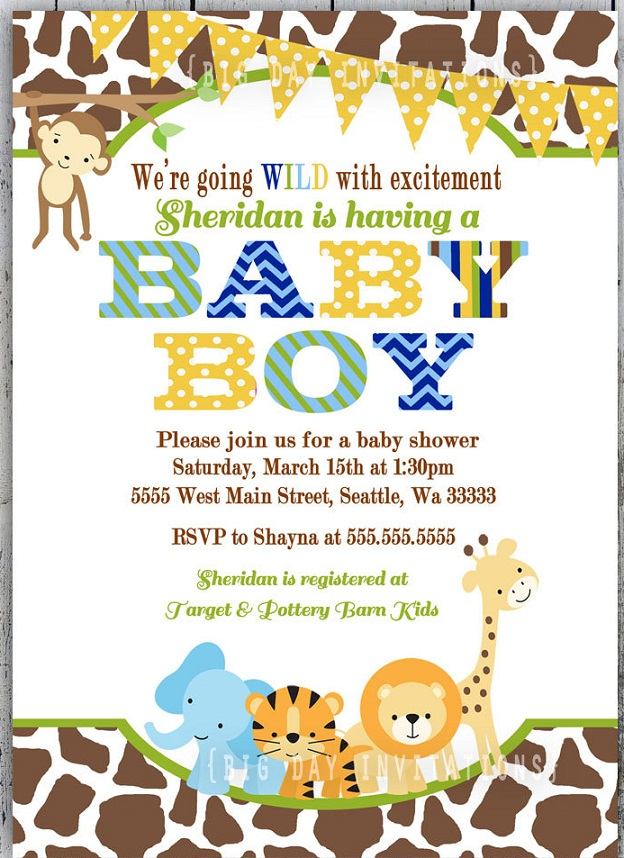 Its A Wild Time With Boys Safari Baby Shower B