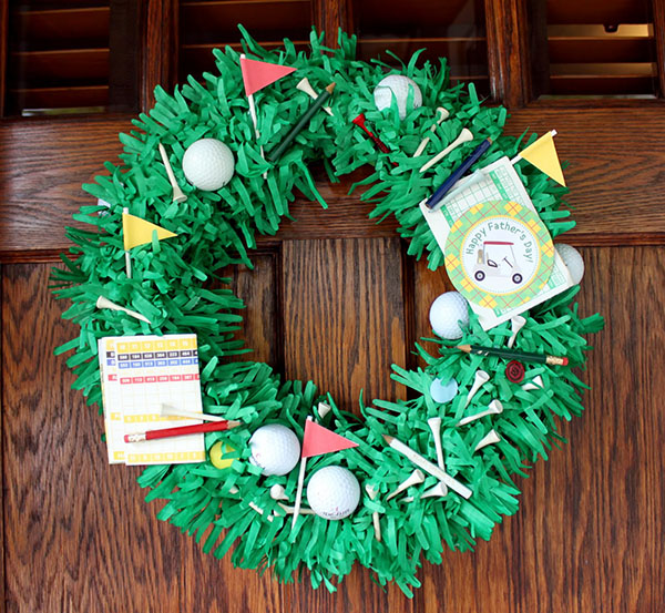 Cute Golf Wreath with flags, balls and scoring cards all over it!