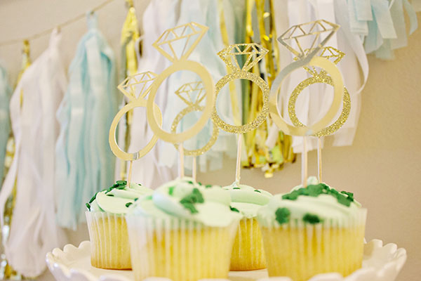 Engagement Party Cupakes with diamond ring toppers