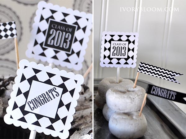 Black and white free graduation printables