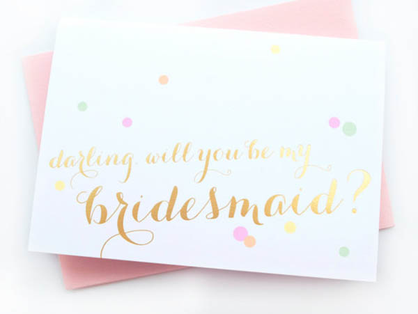 Love this gold and confetti Will you be my bridesmaid card!