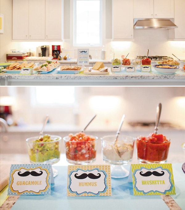 Mustache themed party foods!