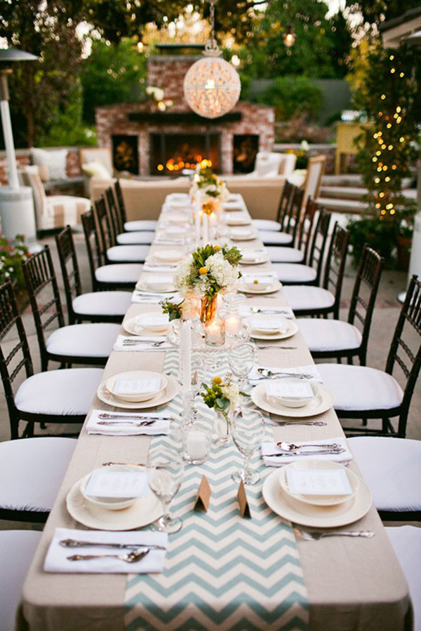 Marvelous Outdoor Dinner Party Ideas Part - 6: Gorgeous Chevron Runner At This Outdoor Dinner Party
