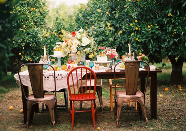 Rustic artsy outdoor dinner party