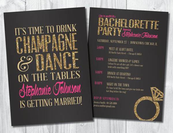 Gold Glitter Bachelorette Party Invitation