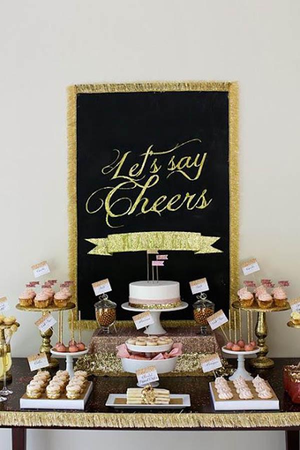 Gold Glitter Dessert Bar