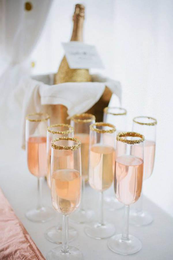 Gold Glitter Wedding Champagne