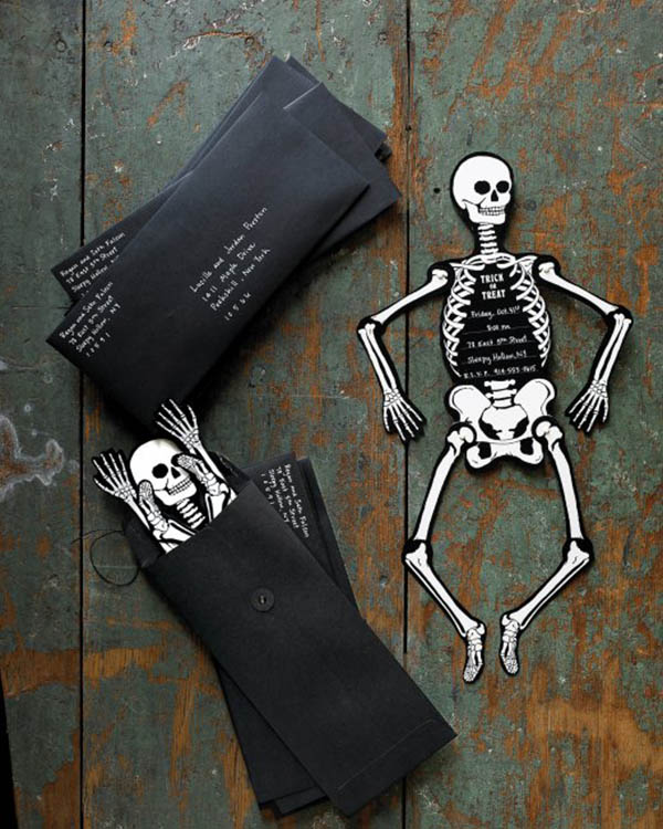 Halloween Skeleton Invites