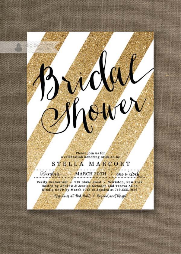 black and gold glitter invite - Kate Spade Wedding Invitations