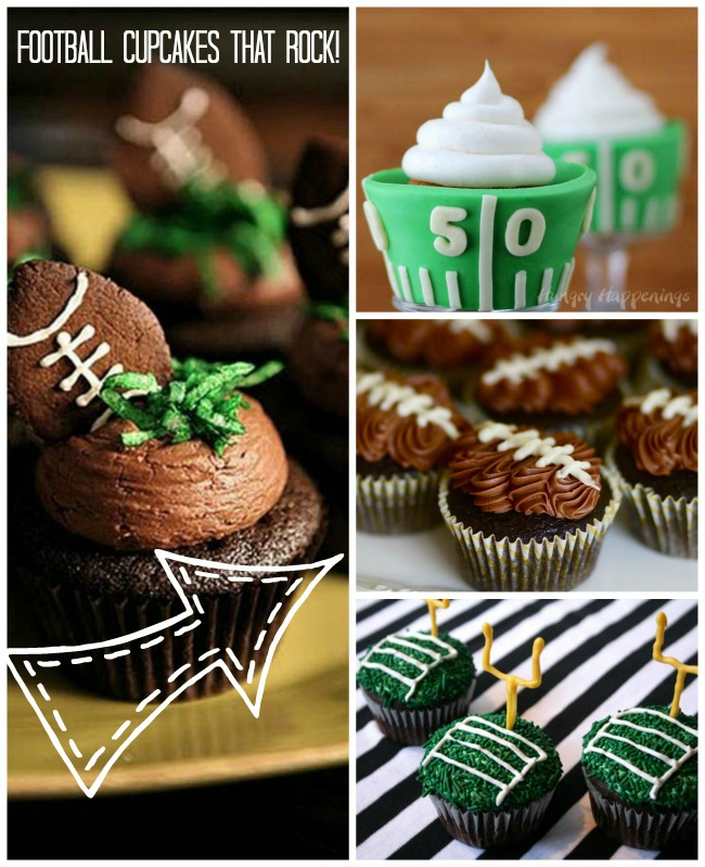 Football Cupcakes That Rock! - B. Lovely Events