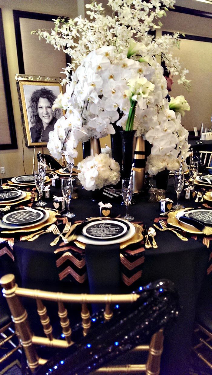Modern Black And Gold Tablescape B Lovely Events
