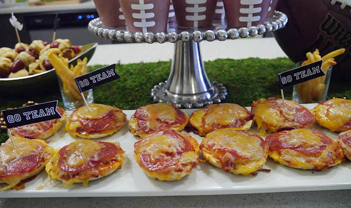 Football Party Bagel Pizzas- Such A Great DIY- B. Lovely Events