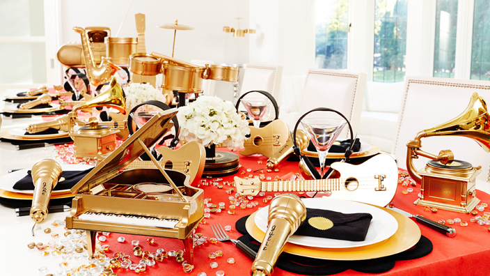 Grammy awards party tablescape