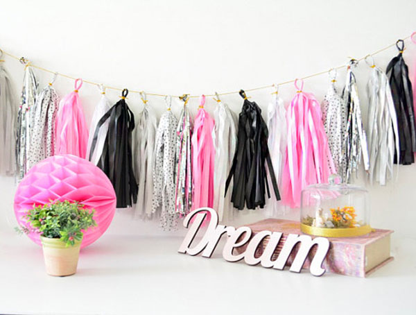 Pink and black tassel garland