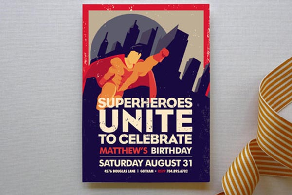 Adorable Vintage Superhero Party Invitation