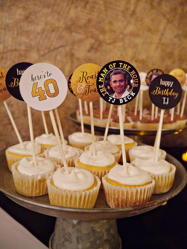 Roast and toast 40th birthday cupcakes