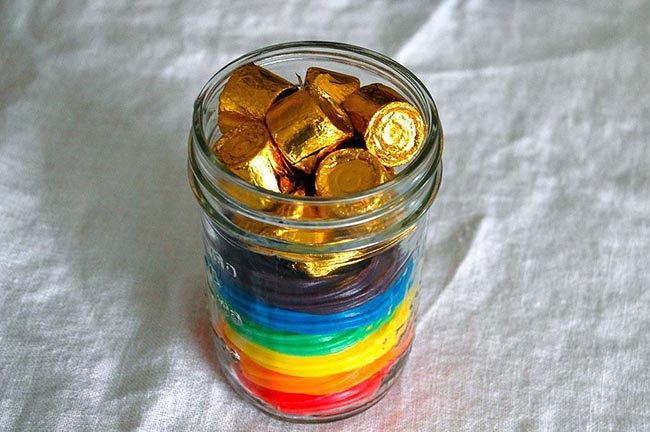 rainbow licorice jar treats for St. Patrick's Day
