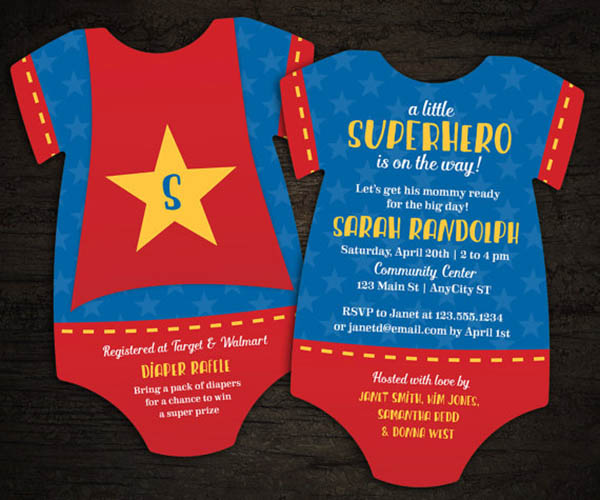 Cute Superhero Baby shower invitation