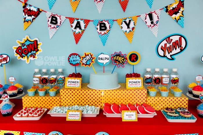 Wonderful Love This Whole Superhero Baby Shower!