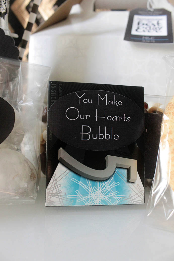 You make my heart bubble welcome bag gum- B. Lovely Events