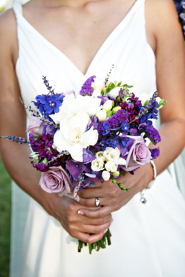 Purple And Blue Garden Wedding Bouquet
