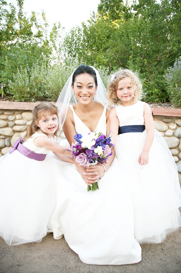 Real wedding Purple and Blue Flower Girls