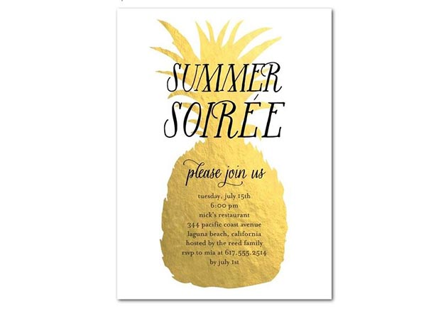 Gold shimmery Pineapple Party Invitation