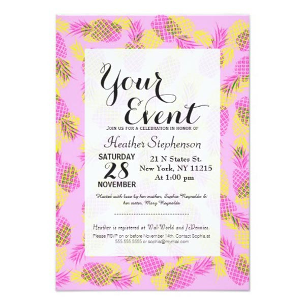 10 Lovely Pineapple Party Invitations B Lovely Events – 21 Party Invitations
