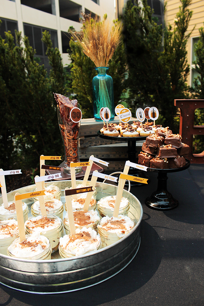 Dirty Thirty 30th Birthday Beer Dessert Bar - B. Lovely Events