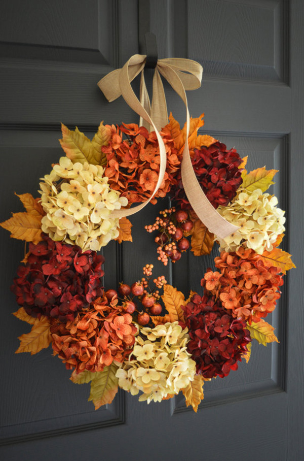 Gorgeous Fall Hydrangea Wreath