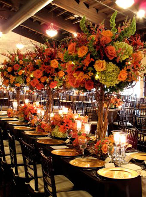 10 lovely fall wedding centerpieces b lovely events large and abundant fall wedding centerpiece junglespirit Choice Image